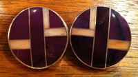 EARRINGS NAVAJO ROUND STERLING SILVER ANGEL SKIN CORAL SUGILITE RAY TRACEY