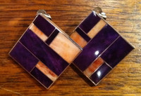 EARRINGS NAVAJO SQUARE STERLING SILVER CLIP ANGEL SKIN CORAL SUGILITE RAY TRACEY