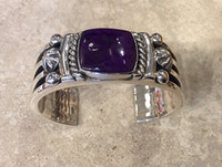 BRACELET NAVAJO RARE SUGILITE SQUARE CENTER STONE WIDE SILVER LINED LARGE CUFF ALBERT LEE