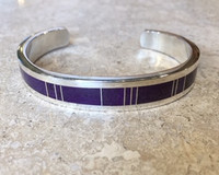 BRACELET NAVAJO MULTI-INLAY RARE SUGILITE VERTICAL SILVER WIRE INSERTS NARROW  THOMAS FRANCISCO