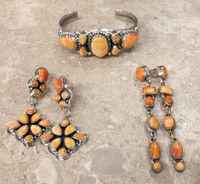 BRACELET NAVAJO LIGHT ORANGE SPINY OYSTER SHELL 7 STONE ROIE JACQUE