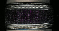 BRACELETS NAVAJO RARE PURPLE SPINY OYSTER SHELL HEISHI INLAID SILVER CUFF DAN JACKSON