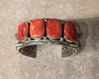 BRACELET NAVAJO 4 STONE ORANGE SPINY OYSTER SHELL RECTANGULAR HEAVY SILVER CUFF JEANETTE DALE