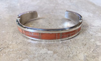 BRACELET NAVAJO MULTI-INLAY RARE SALMON CORAL CUFF THOMAS FRANCISCO
