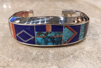 "BRACELET NAVAJO MULTI-COLOR INLAY HEAVY LARGE 6 1/2"" WIDE TAPERED LAPIS SPIDERWEB TURQUOISE STERLING SILVER CUFF TOMMY JACKSON"