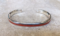 BRACELET NAVAJO NARROW MULTI-STONE INLAY DARK ORANGE CORAL STERLING KS