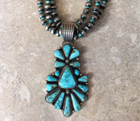 NAVAJO ROYSTON TURQUOISE CLUSTER  PENDANT 3 STRANDS STERLING SILVER BEAD NECKLACE LA ROSE GANADONEGRO