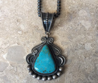 "PENDANT NAVAJO TRIANGULAR TURQUOISE WITH SMALL MM STERLING SILVER BEADS 20"" SET LEON MARTINEZ"