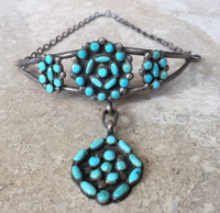 ZUNI PAWN TURQUOISE CLUSTER CHOKER WITH CIRCULAR TURQUOISE CLUSTER DROP STERLING