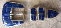 """RANGER STYLE SILVER BELT BUCKLE NAVAJO MULTI-INLAY RARE LAPIS 3/4"""" KEEPER CHARLES WILLIE"""