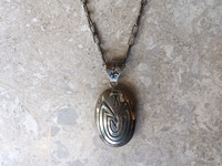 PENDANT CHAIN REVERSIBLE HOPI OVERLAY OVAL MAN IN THE MAZE KOKOPELLI WITH CORNSTALK SILVER NECKLACE