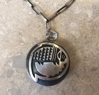 PENDANT ROUND HEAVY REVERSIBLE HOPI OVERLAY FISH IRONWOOD SIDE STONE INLAY NECKLACE PHIL SEQUEPTEWA