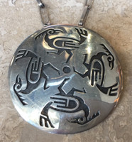 PENDANT PIN HOPI OVERLAY ROUND 4 ROADRUNNERS IN A CIRCLE NECKLACE  ELDON JAMES