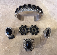 ONYX SETS OVAL BRACELET EARRINGS RING (3 RING CHOICES)JEANETTE DALE RICHARD JIM WILL DENETDALE