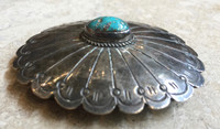 BELT BUCKLE NAVAJO STAMPED SILVER SINGLE TURQUOISE STONE SCALLOPED EDGES