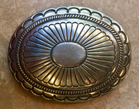 BELT BUCKLES NAVAJO LARGE OVAL STERLING SILVER STAMPED CONCHO WILLIE SHAW