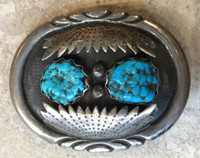 BELT BUCKLES NAVAJO OVAL 2 TURQUOISE KINGMAN NUGGETS OVERLAYING SILVER SHADOWBOX STYLE LEONARD T CHEE