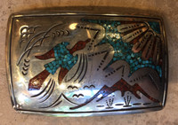 BELT BUCKLES 1970'S ZUNI CHIP INLAY CORAL & TURQUOISE PEYOTE BIRD MOUNTAIN YUCCA MOTIF SIGNED