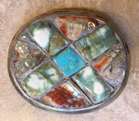 BELT BUCKLE LARGE OVAL RAISED INLAY ABALONE GREEN SNAIL SHELL TURQUOISE SILVER