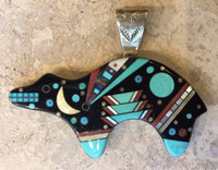 PENDANTS NAVAJO MULTI-STONE INLAY BEAR VERNA BLACKGOAT