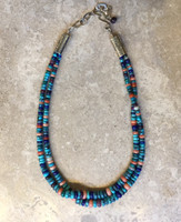 BEAD NECKLACE 2 STRAND GRADUATED LONE MOUNTAIN TURQUOISE NECKLACE MULTI COLOR BEADS LAPIS ANGEL SKIN CORAL SUGILITE AUSTRALIAN COOPER PEDY OPALS BRUCE ECKHARDT