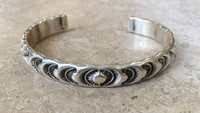 BRACELETS NAVAJO SILVER STAMPED NARROW CUFF MARC ANTIA SOLD