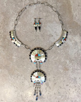 ZUNI NECKLACE PAWN 4 PIECE SECTION CHOKER MULTI-STONE INLAY SUNFACE MOTIF EARRINGS SET DERRICK & VIVIAN HATTIE
