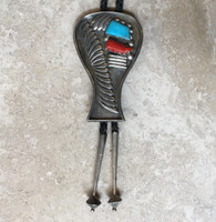 BOLO TIE PAWN ZUNI CORAL TURQUOISE KEYHOLE OLLA SHAPED