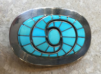 BELT BUCKLE ZUNI SLEEPING BEAUTY TURQUOISE HUMMINGBIRD DESIGN DICKIE & AMY QUANDELACY