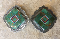 EARRINGS GREEN MANASSA TURQUOISE MULTI-STONE INLAY BENNY & VALORIE ALDRICH