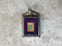 PENDANT SUGILITE MULTI-INLAY STONES LIGHT ORANGE SPINY OYSTER SHELL GREEN TURQUOISE BENNY & VALORIE ALDRICH