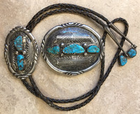 ZUNI BOLO BUCKLE SET 1970'S TURQUOISE OVAL GV