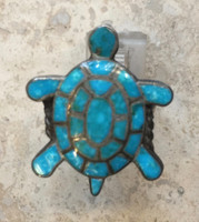 ZUNI MULTI-STONE INLAY TURQUOISE TURTLE RING 8 1/4