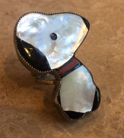 ZUNI MULTI-STONE INLAY SNOOPY MOTHER OF PEARL ONYX CORAL SIGNED CS