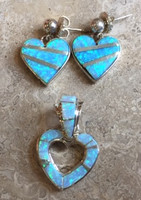 CONTEMPORARY NAVAJO MULTI-STONE INLAY OPAL HEART EARRINGS AND PENDANT_1