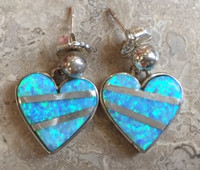 CONTEMPORARY NAVAJO MULTI-STONE INLAY OPAL HEART EARRINGS_1