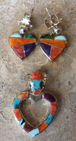 CONTEMPORARY NAVAJO MULTI-COLOR INLAY HEART EARRINGS (SOLD), AND PENDANT SET_1 SOLD