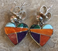 CONTEMPORARY NAVAJO MULTI-COLOR INLAY HEART EARRINGS_1 SOLD