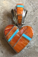 CONTEMPORARY NAVAJO ORANGE SPINY AND TURQUOISE INLAY HEART PENDANT