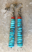"Bruce Eckhardt Turquoise Heishi Earrings 3""L"