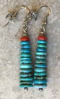 "Bruce Eckhardt Turquoise Heishi Earrings 2""L"