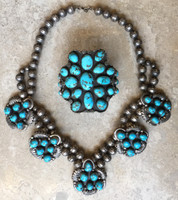PAWN LARGE BEAUTIFUL NAVAJO PERSIAN TURQUOISE NECKLACE BRACELET SET