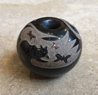 SANTA CLARA POTTERY POLYCHROME INCISED SCRAFFITTO SEED POT BLACK BEAR CHASING RED BUTTERFLIES GLORIA GARCIA GOLDENROD