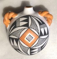 Pottery Acoma Miniature Polychrome Water Canteen Unsigned