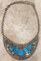 1970'S NECKLACE CHOKER NECK COLLAR STERLING SILVER OVERLAY HIGH GRADE KINGMAN TURQUOISE JB