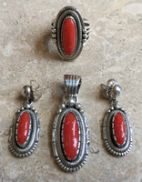 EARRINGS RING & PENDANT SET NAVAJO CORAL OVAL SILVER WIL VANDEVER