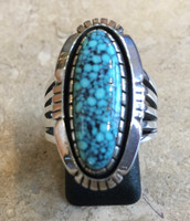 RING NAVAJO STERLING SILVER SPIDERWEB TURQUOISE DARREL VICTOR