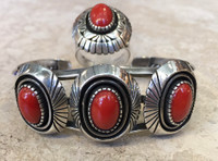 ESTATE NAVAJO BRACELET 6.25 & RING 8.5 SHADOWBOX SET OXBLOOD CORAL OVAL CABOCHONS STERLING DECHELLY_1