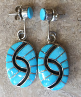 EARRINGS ZUNI SLEEPING BEAUTY TURQUOISE OVAL DANGLE HUMMINGBIRD DESIGN AMY QUANDELACY