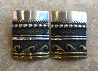 EARRING NAVAJO SILVER AND BRASS OVERLAY RECTANGULAR TOMMY SINGER